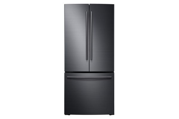 Large image of Samsung 22 Cu. Ft. Fingerprint Resistant Black Stainless Steel French Door Refrigerator - RF220NCTASG/AA