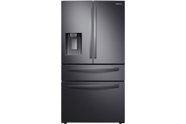 Large image of Samsung 22 Cu. Ft. Food Showcase Fingerprint Resistant Black Stainless Steel Counter Depth 4-Door French Door Refrigerator - RF22R7351SG/AA