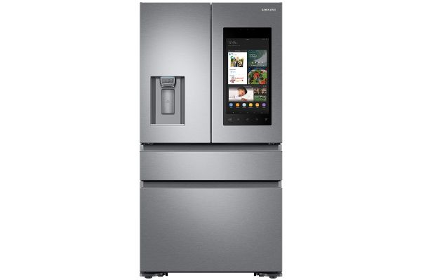 Large image of Samsung 22 Cu. Ft. Fingerprint Resistant Stainless Steel Counter-Depth 4-Door Refrigerator With Family Hub - RF23M8570SR/AA