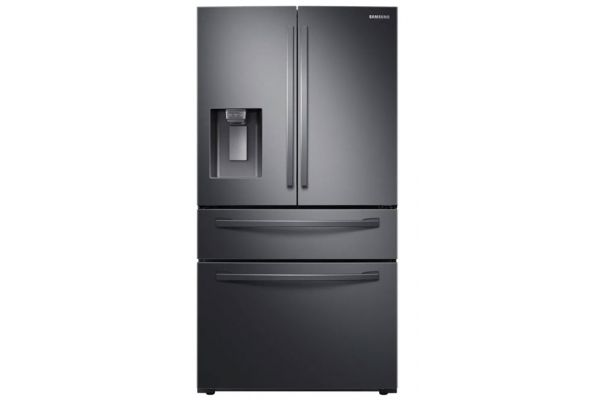 Large image of Samsung 23 Cu. Ft. Fingerprint Resistant Black Stainless Steel Counter Depth 4-Door French Door Refrigerator With FlexZone Drawer - RF24R7201SG/AA