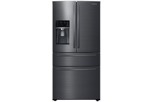 Large image of Samsung 25 Cu. Ft. Fingerprint Resistant Black Stainless Steel 4-Door French Door Refrigerator With External Water & Ice Dispenser - RF25HMIDBSG/AA