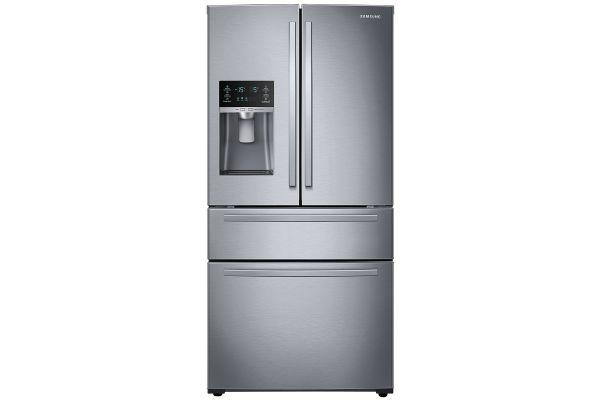 Large image of Samsung 25 Cu. Ft. Fingerprint Resistant Stainless Steel Large Capacity 4-Door French Door Refrigerator With External Water & Ice Dispenser - RF25HMIDBSR/AA