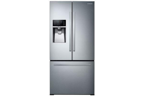 Large image of Samsung 26 Cu. Ft. Fingerprint Resistant Stainless Steel 3-Door French Door Refrigerator With External Water & Ice Dispenser - RF26J7510SR/AA