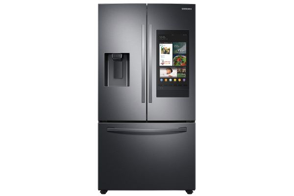 Large image of Samsung 26.5 Cu. Ft. Fingerprint Resistant Black Stainless Steel 3-Door French Door Refrigerator With Family Hub And External Water & Ice Dispenser - RF27T5501SG/AA