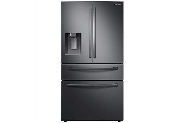 Large image of Samsung 28 Cu. Ft. Fingerprint Resistant Black Stainless Steel 4-Door French Door Refrigerator With FlexZone Drawer - RF28R7201SG/AA