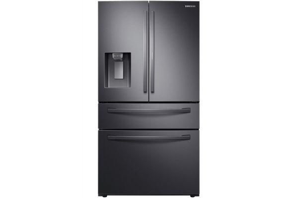 Large image of Samsung 28 Cu. Ft. Fingerprint Resistant Black Stainless Steel Food Showcase 4-Door French Door Refrigerator - RF28R7351SG/AA
