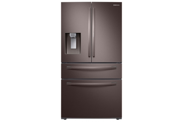 Large image of Samsung 28 Cu. Ft. Fingerprint Resistant Tuscan Stainless Steel Food Showcase 4-Door French Door Refrigerator - RF28R7351DT/AA