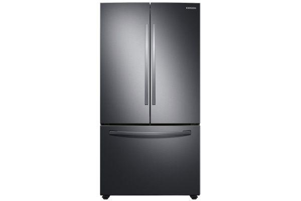 Large image of Samsung 28 Cu. Ft. Fingerprint Resistant Black Stainless Steel Large Capacity 3-Door French Door Refrigerator With Internal Dispenser - RF28T5101SG/AA