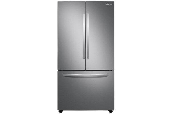 Large image of Samsung 28 Cu. Ft. Fingerprint Resistant Stainless Steel Large Capacity 3-Door French Door Refrigerator With Internal Dispenser - RF28T5101SR/AA