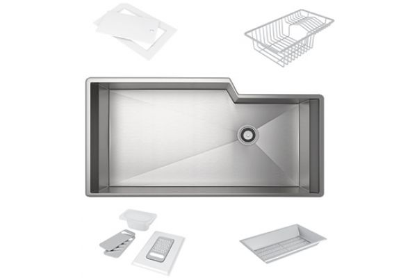 Large image of Rohl Single Bowl Stainless Steel Kitchen Sink - RGKKIT3016SB