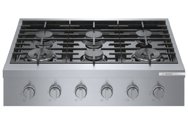 """Large image of Bosch 36"""" Stainless Steel Industrial-Style Gas Rangetop - RGM8658UC"""