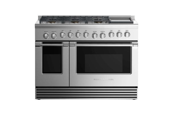 """Large image of Fisher & Paykel 48"""" Professional Style Stainless Steel Freestanding Liquid Propane Gas Range With Griddle - RGV2486GDLN"""