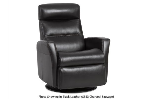 Large image of IMG Divani Sauvage Charcoal Leather Large Power Recliner with Chaise - RM-325-S553-WM062-QS