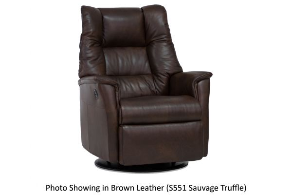 Large image of IMG Verona Sauvage Truffle Leather Standard Power Recliner with Chaise - RMS295-S551-QS