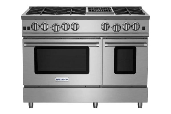 "Large image of BlueStar 48"" RNB Series Stainless Steel Freestanding Gas Range With 12"" Charbroiler - RNB486CBV2"
