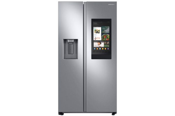 Large image of Samsung 21.5 Cu. Ft. Fingerprint Resistant Stainless Steel Counter Depth Side-By-Side Refrigerator With Touch Screen Family Hub - RS22T5561SR/AA