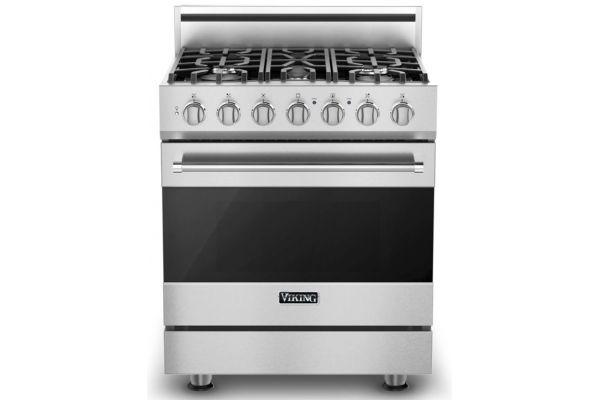 "Large image of Viking 30"" 3 Series Stainless Steel Freestanding Dual Fuel Liquid Propane Range - RVDR33025BSSLP"