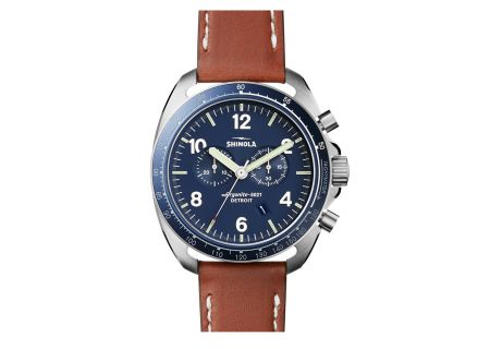 Shinola The Rambler Tachymeter Blue Dial Stainless Steel Mens Watch - S0120007929
