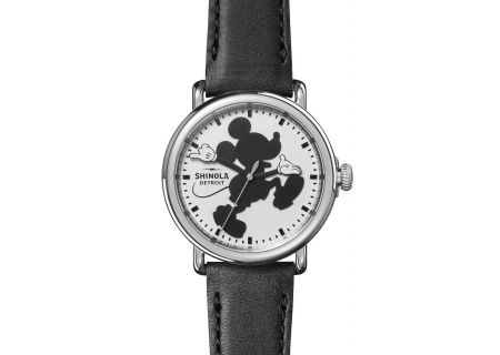 Shinola Runwell 41mm Silver And Black Leather Silhouette Mickey  Mens Watch - S0120127279