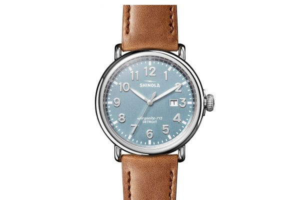 Large image of Shinola The Runwell 47mm Stone Blue Dial Stainless Steel Mens Watch - S0120183144