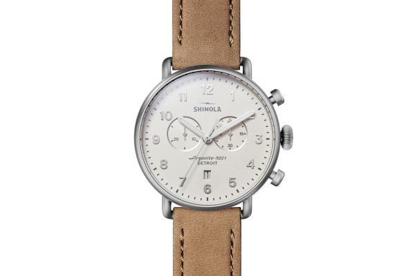 Large image of Shinola The Canfield Chrono 43mm Ivory Dial Sandblast Stainless Steel Womens Watch - S0120183151