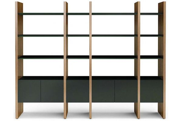 Large image of BDI Semblance 5404 Natural Walnut And Black Storage Shelf - 5404-GB WL/B