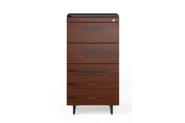 Large image of BDI Sequel 20 6114 Chocolate Walnut/Black 3 Drawer File Cabinet - 6114 CWL/B