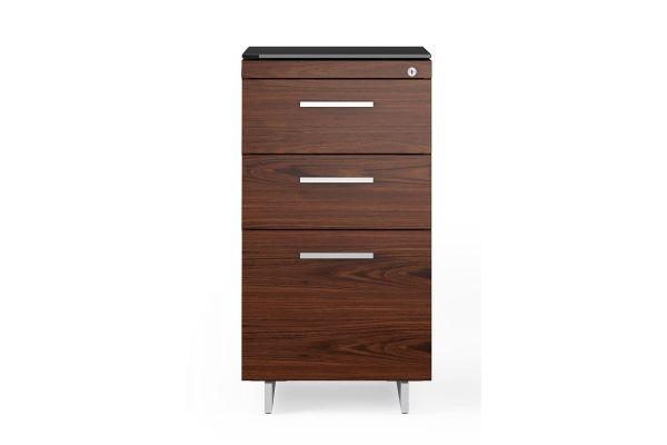 Large image of BDI Sequel 20 6114 Chocolate Walnut/Satin Nickel 3 Drawer File Cabinet - 6114 CWL/S