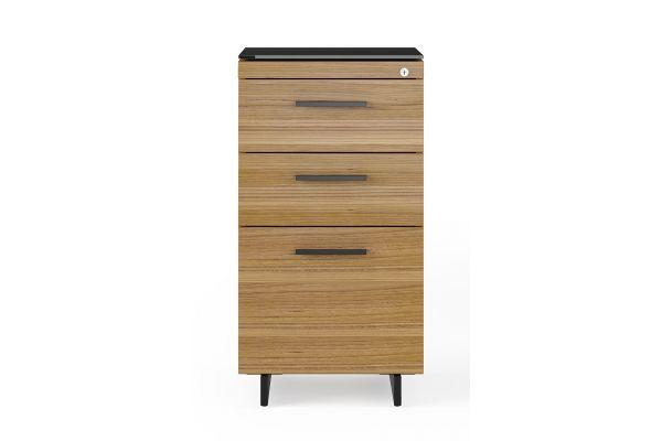 Large image of BDI Sequel 20 6114 Natural Walnut/Black 3 Drawer File Cabinet - 6114 WL/B
