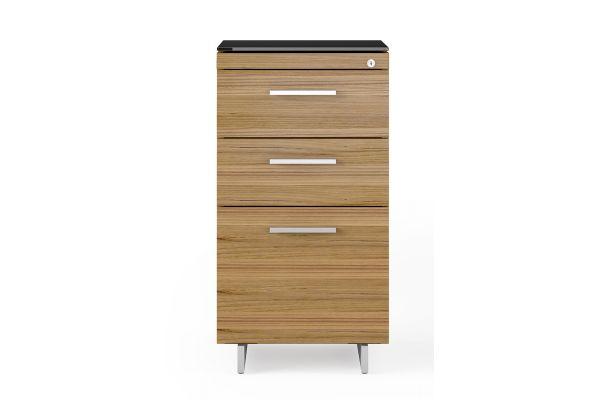 Large image of BDI Sequel 20 6114 Natural Walnut/Satin Nickel 3 Drawer File Cabinet - 6114 WL/S