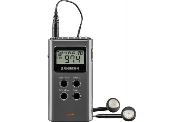 Large image of Sangean AM/FM Gray Pocket Transistor Radio - SG-110