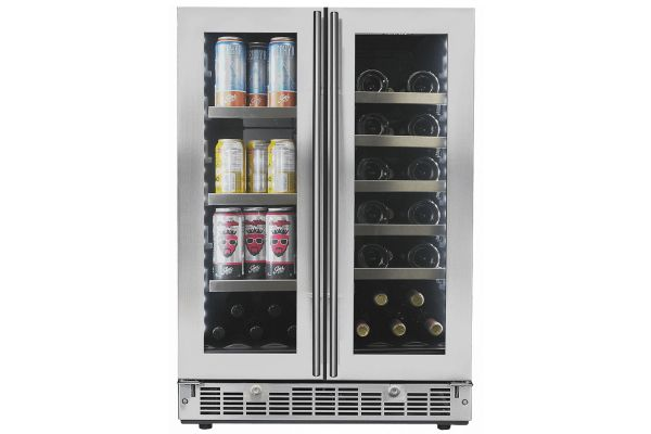 "Large image of Danby Silhouette Lorraine 24"" Stainless Frame French Door Beverage Center - SPRBC047D1SS"