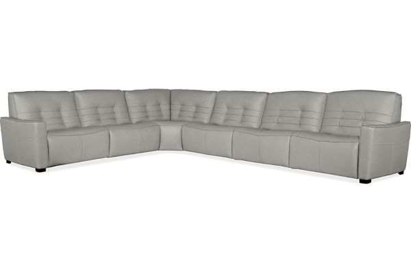Large image of Hooker Furniture Living Room Grey Reaux 6-Piece Power Recline Sectional With 3 Power Recliners - SS555-G6PS-095
