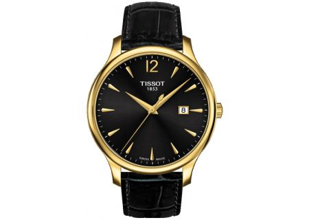 Tissot Tradition Gent Black Leather And Gold Watch  - T0636103605700
