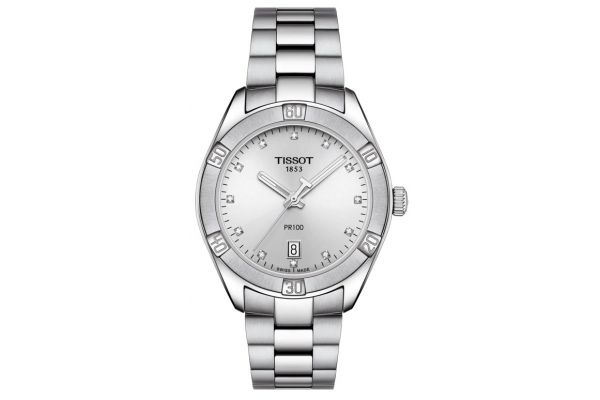 Large image of Tissot PR 100 Sport Chic Stainless Steel Womens Watch - T1019101103600