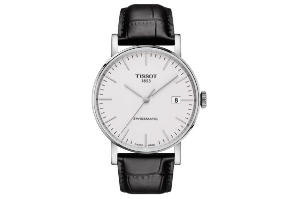 Large image of Tissot Everytime Swissmatic Stainless Steel And Black Leather Mens Watch - T1094071603100