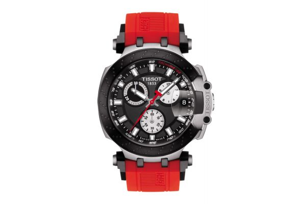 Large image of Tissot T-Race Black And Red Chronograph Mens Watch - T1154172705100