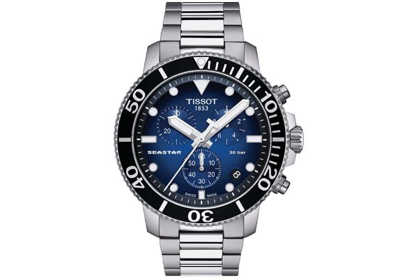 Large image of Tissot 45.5mm Seastar 1000 Blue Dial And Stainless Steel Strap Mens Watch - T1204171104101