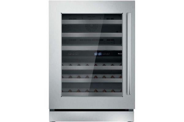 "Large image of Thermador 24"" Masterpiece Stainless Steel Left-Hinge Wine Refrigerator - T24UW910LS"