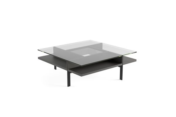 Large image of BDI Terrace 1150 Charcoal Stained Ash Modern Glass Square Coffee Table - 1150 CRL