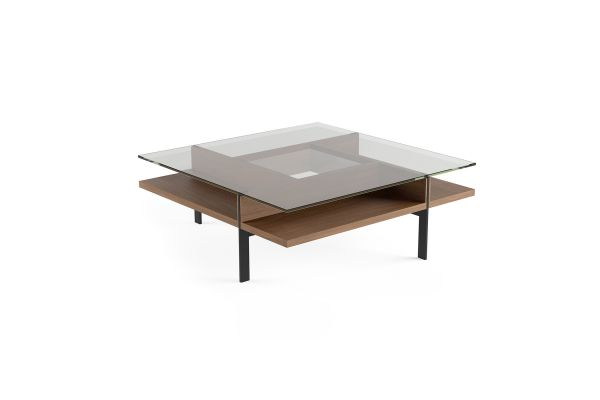 Large image of BDI Terrace 1150 Natural Walnut  Modern Glass Square Coffee Table - 1150 WL