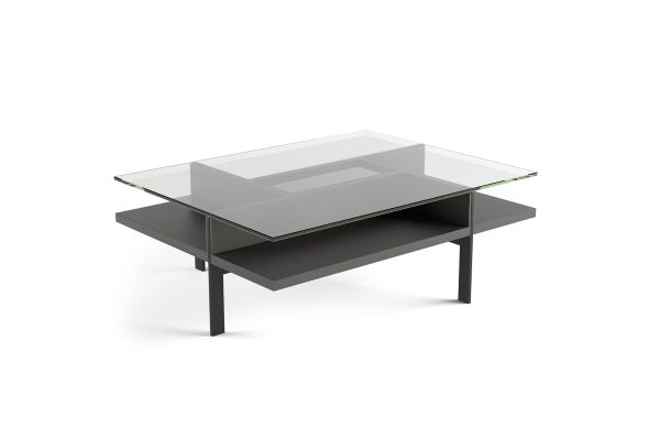 Large image of BDI Terrace 1152 Charcoal Stained Ash Modern Glass Rectangular Coffee Table - 1152 CRL