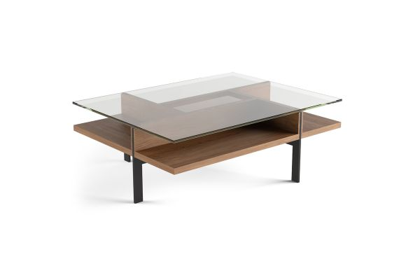 Large image of BDI Terrace 1152 Natural Walnut Modern Glass Rectangular Coffee Table - 1152 WL