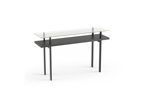 Large image of BDI Terrace 1153 Charcoal Stained Ash Modern Glass Console Table - 1153 CRL