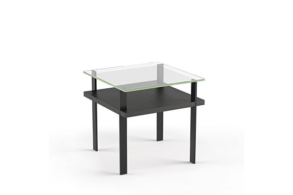 Large image of BDI Terrace 1156 Charcoal Stained Ash Modern Glass End Table - 1156 CRL