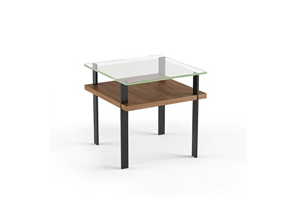 Large image of BDI Terrace 1156 Natural Walnut Modern Glass End Table - 1156 WL