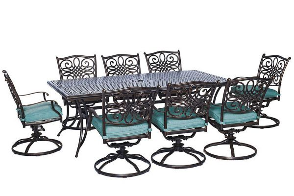 Large image of Hanover Traditions 9-Piece Dining Patio Set - TRAD9PCSW8BLU