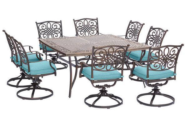 Large image of Hanover Traditions 9-Piece Dining Patio Set In Blue/Cast - TRAD9PCSWSQ8BLU
