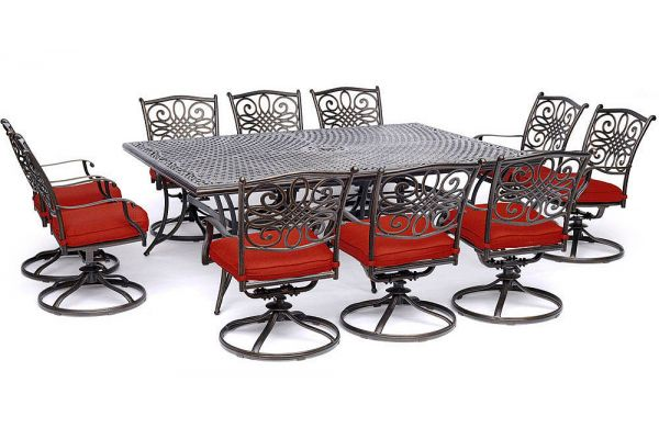 """Large image of Hanover Traditions 11-Piece Outdoor Dining Set In Red/Cast With 10 Swivel Rockers, 60x84"""" Cast Table - TRADDN11PCSW10RED"""