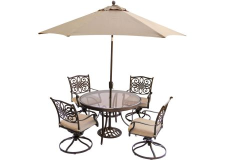 Hanover 5-Piece Traditions Swivel Dining Patio Set - TRADDN5PCSWG-SU